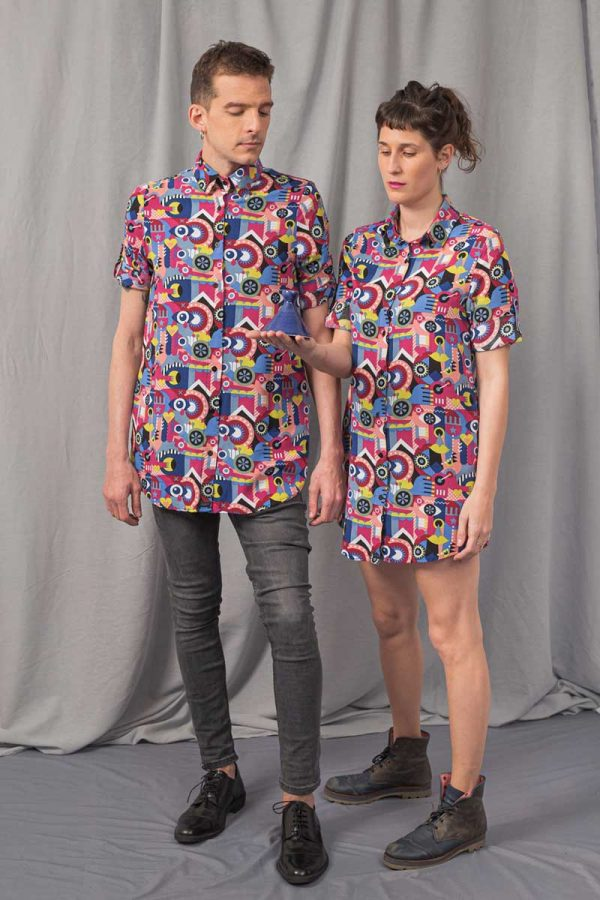 woman and man with geometrical printed shirts