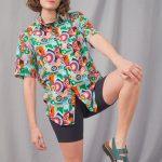 Geometric shirt orange, green, light blue