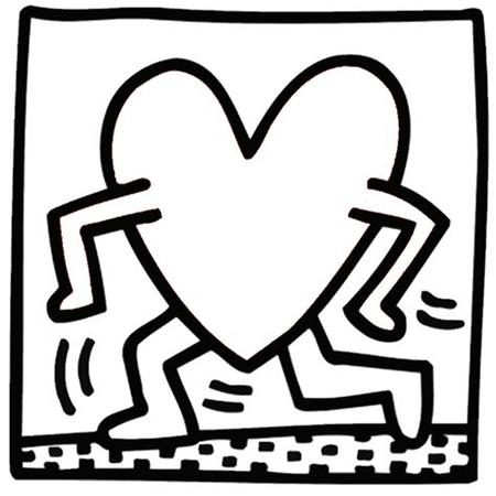 La obra de arte de un corazon dibujada por Keith Haring