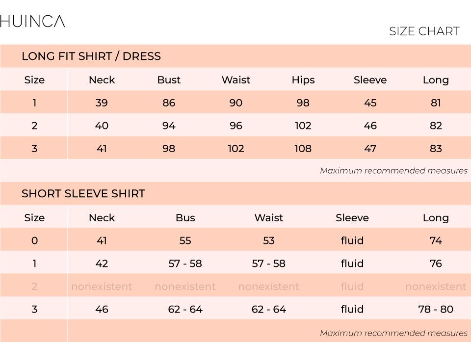 Size chart to buy a huinca shirt