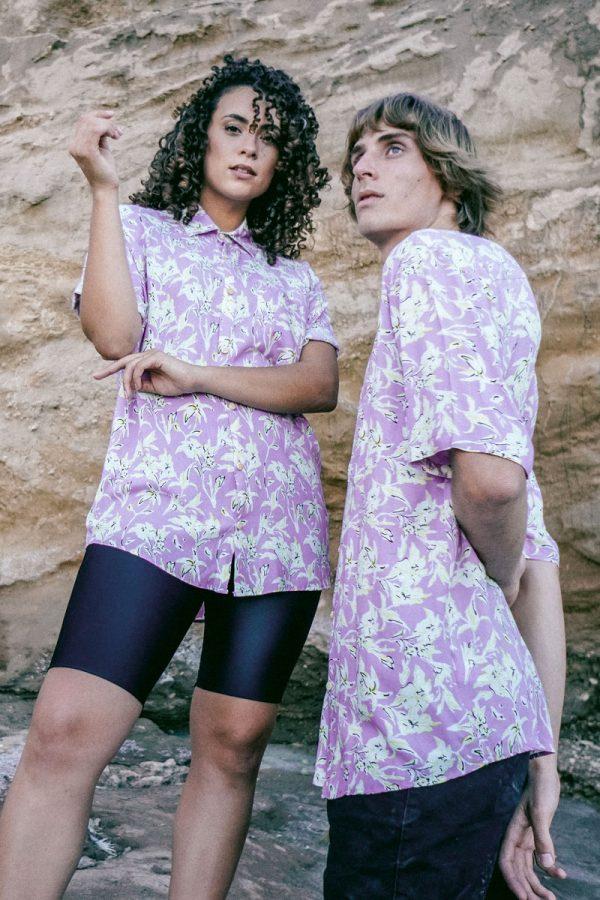 unisex-short-sleeve-shirt-lilac-white-flowers