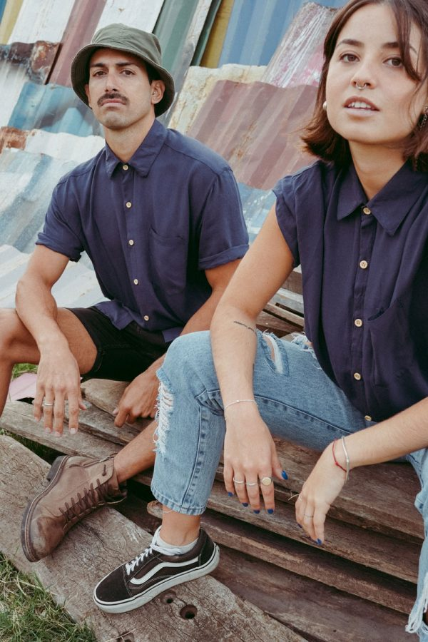 woman and man with plan blue color shirt